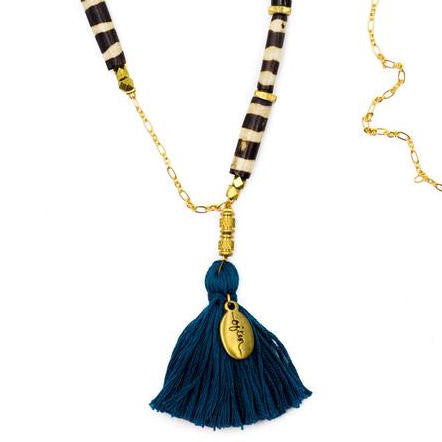 Necklace - Reverie / African Bone with Deep Turquoise Tassel