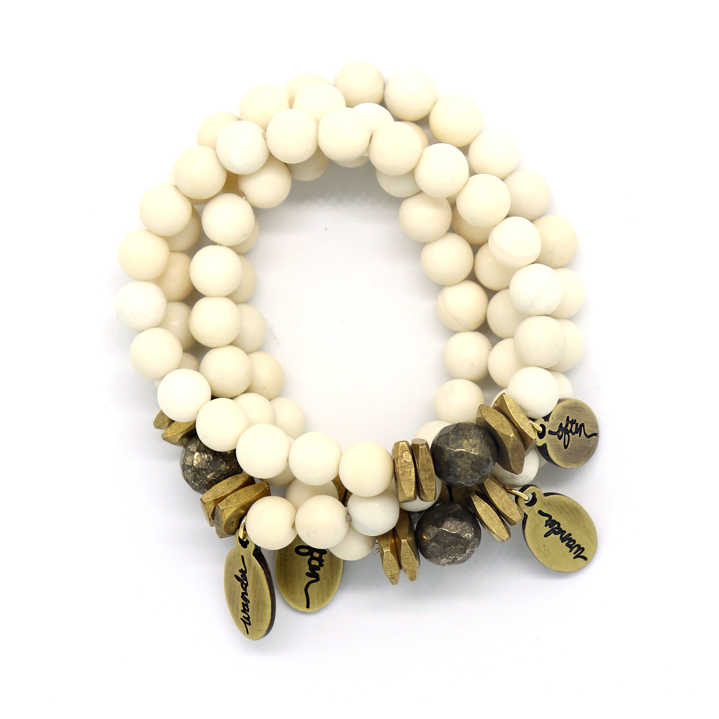 Ivory Jade w/ Pyrite Accent — Beaded Bracelet