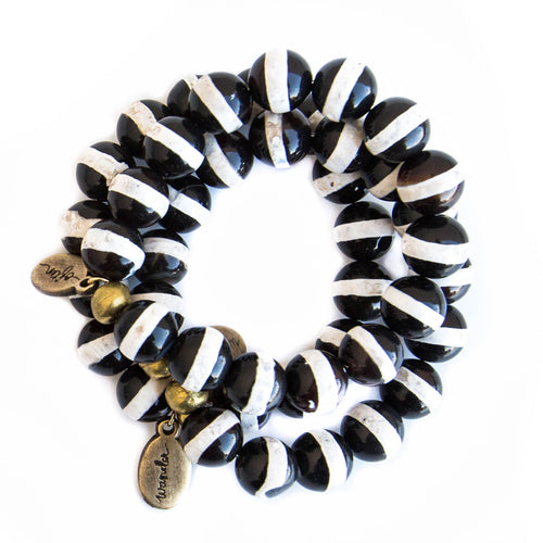 *NEW* Beaded Bracelet  - Jumbo Striped Black Agate