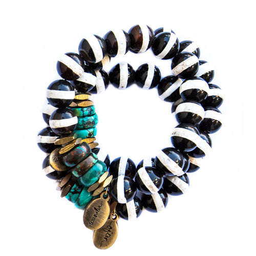 *NEW* Beaded Bracelet  - Jumbo Striped Black Agate with Accent