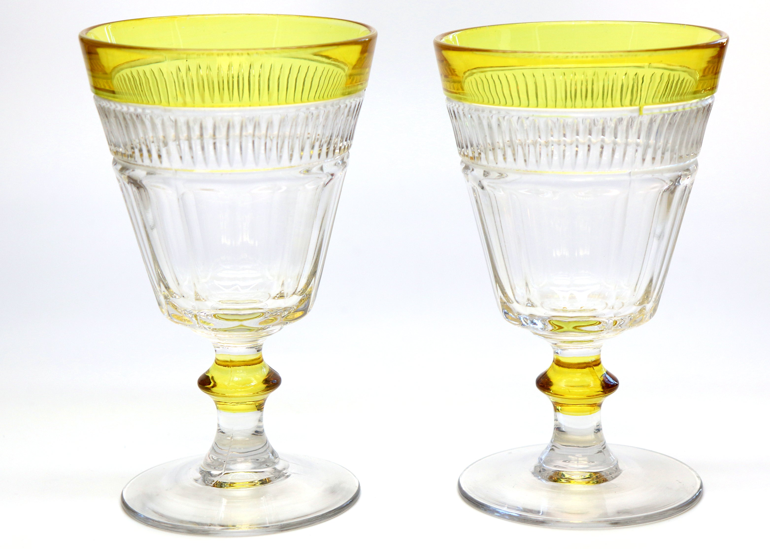 Vintage Glass — Marigold Yellow Rimmed Vintage Cut Goblets — Set of 2