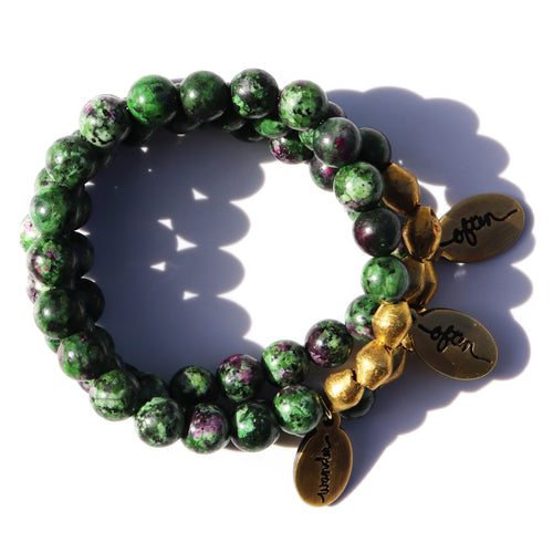 Dark Ruby Zoisite — Beaded Bracelet