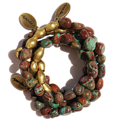 Green Desert Jasper — Beaded Bracelet