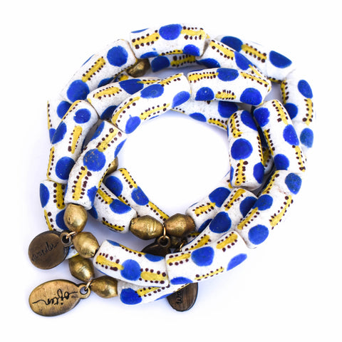 Beaded Bracelet  - Jumbo Striped Denim Agate