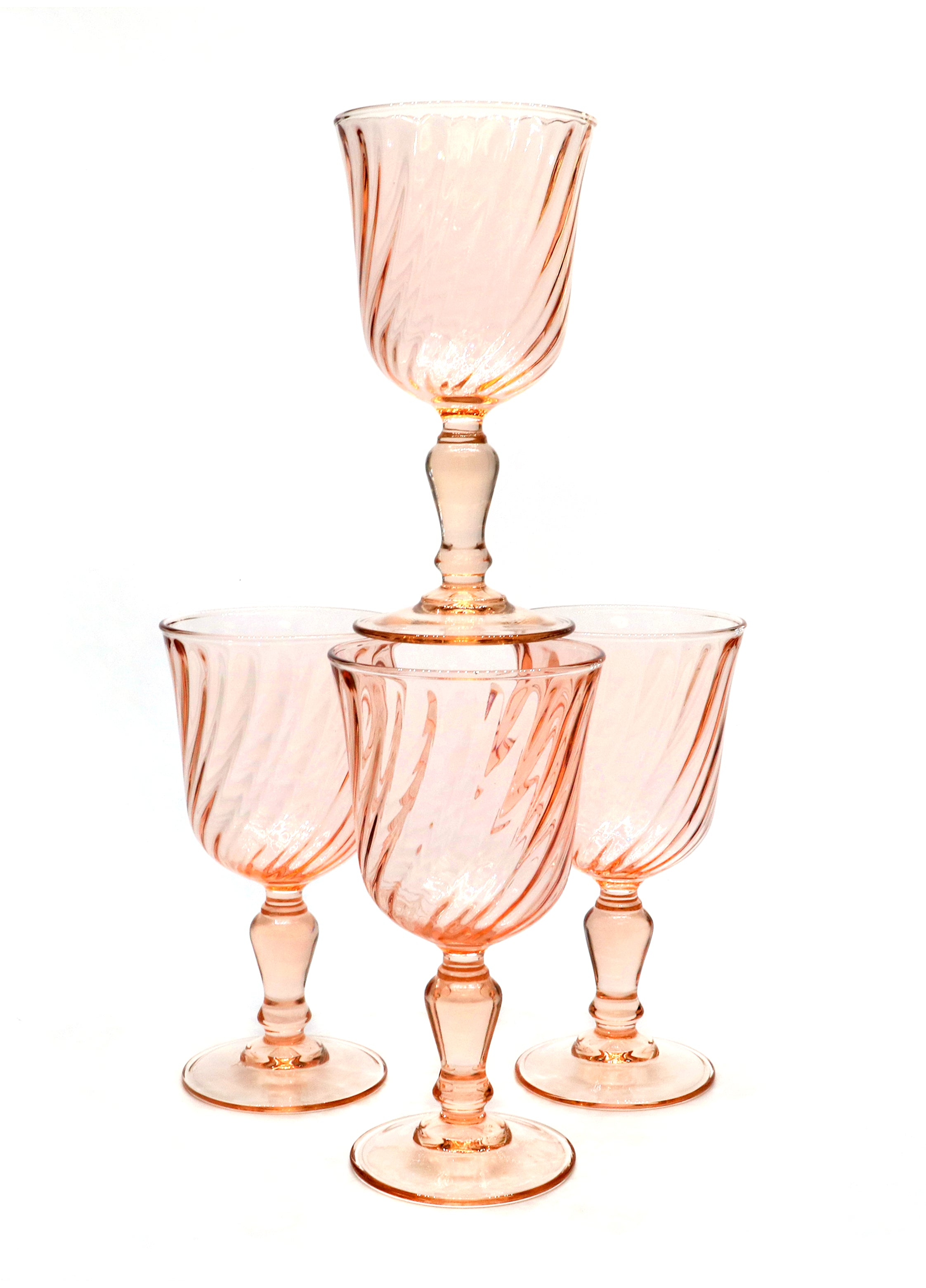 Vintage Glass — Vintage French Rose Swirl Goblets  — Set of 4