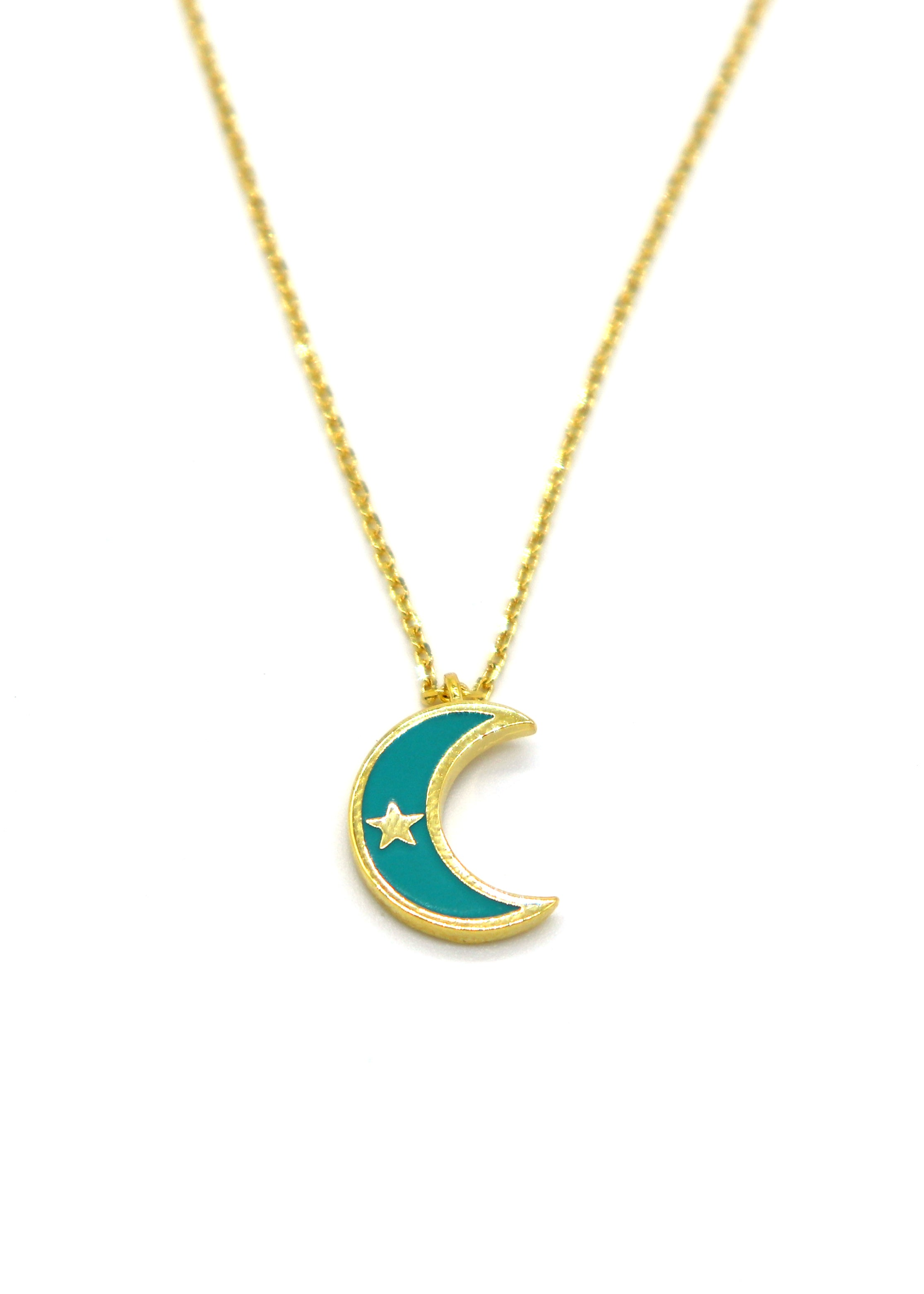 Turquoise Crescent Moon — Necklace