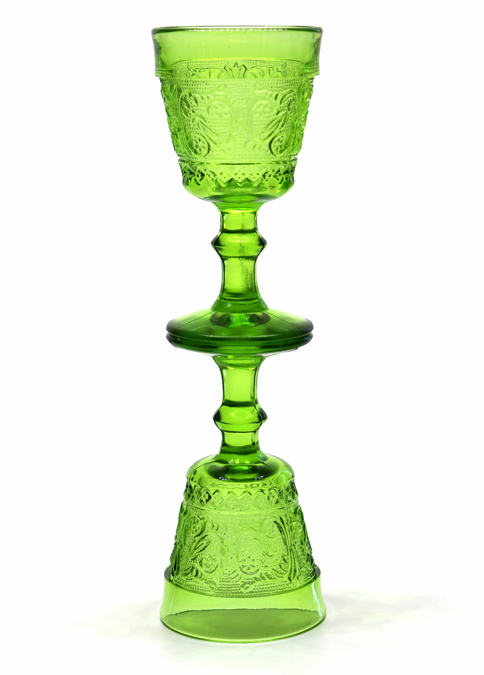 Vintage Glass — Mini Vintage Bright Green Floral Goblets — Set of 2
