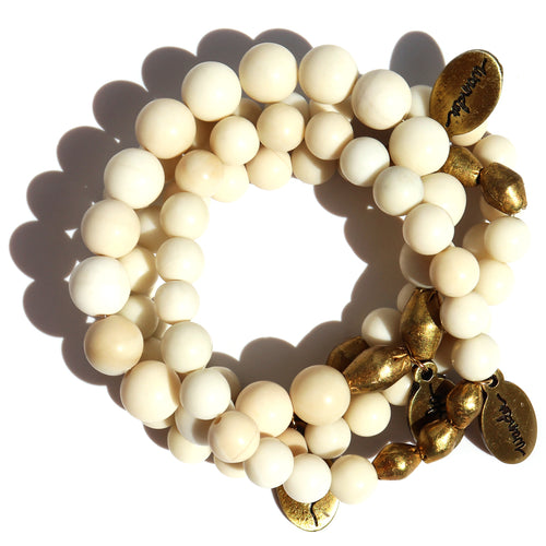 Assorted Ivory Jade — Beaded Bracelets
