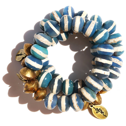 Sale! Jumbo Striped Denim Agate — Beaded Bracelet