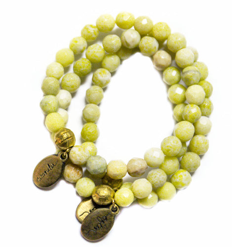 Beaded Bracelet  - Light Green Agate