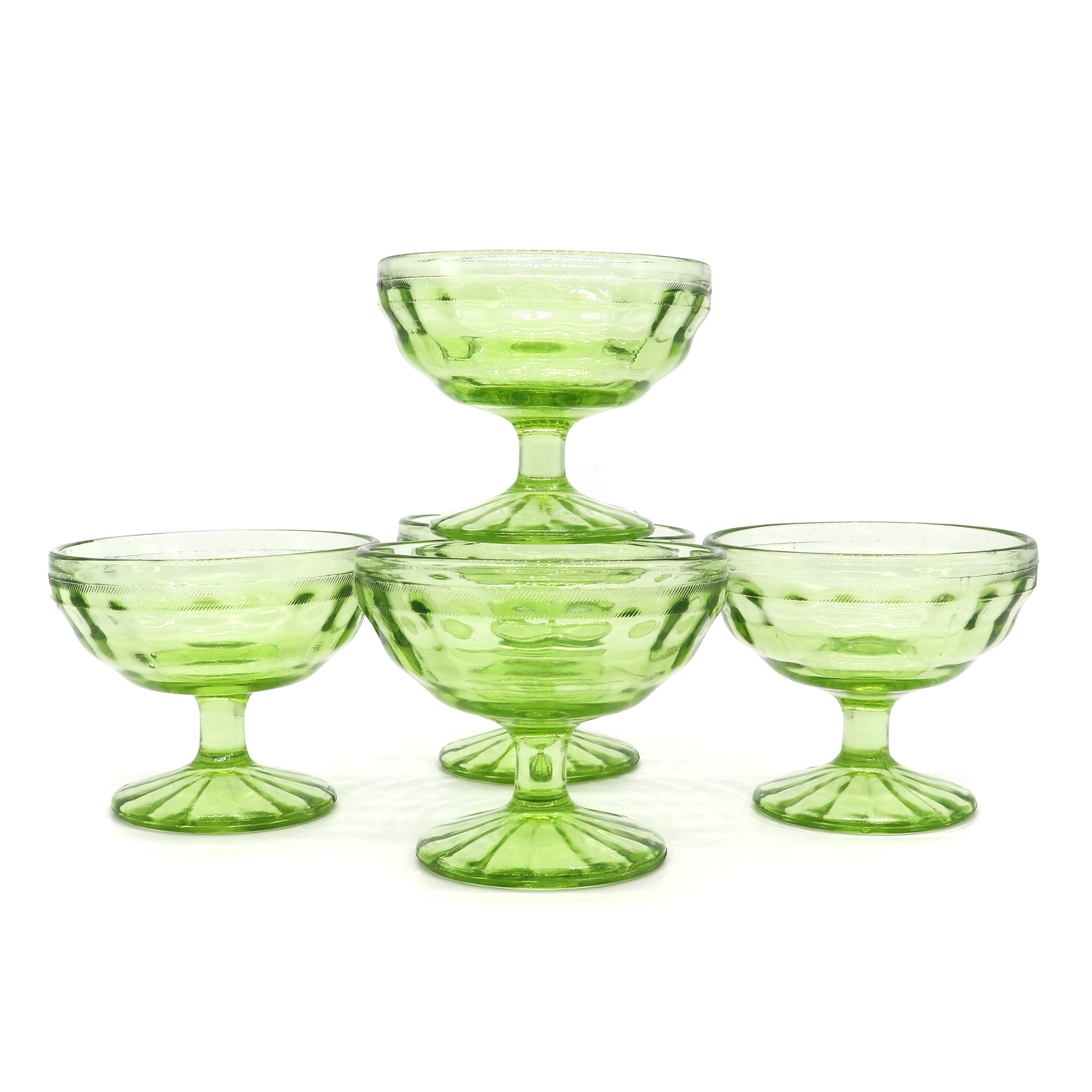 Lime Pedestal Sherbet Dishes — Set of 5 — Vintage Glass