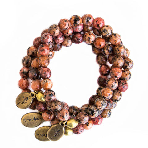 *NEW* Beaded Bracelet  - Rainbow Picasso Jasper with Coral Accent