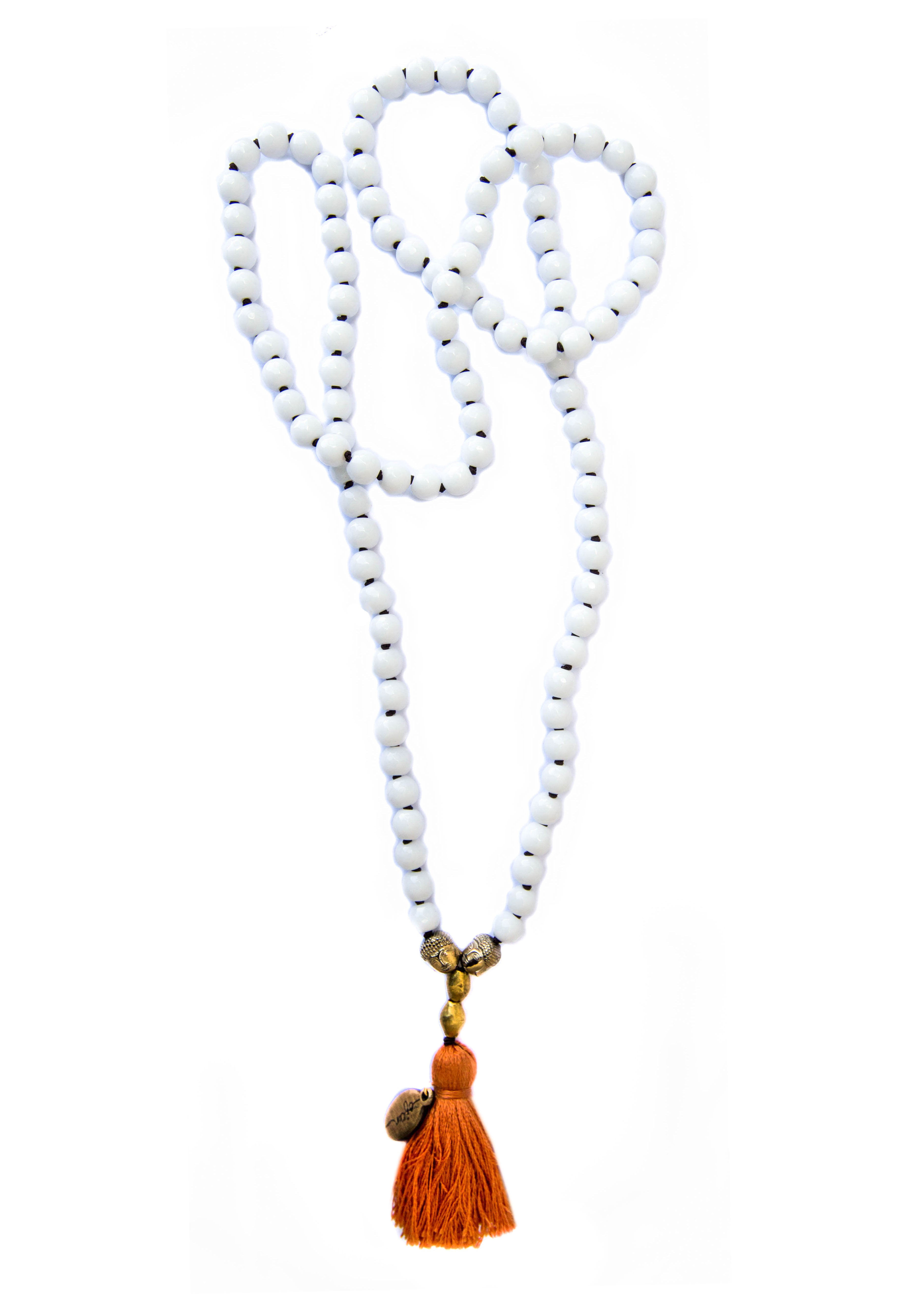White Onyx — Choose your own Tassel Color! — Mala