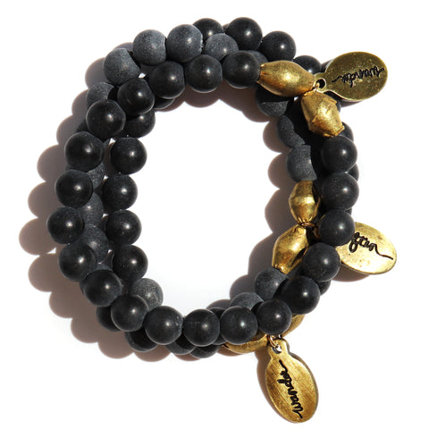Palo Santo w/ Pyrite Accent — Beaded Bracelet