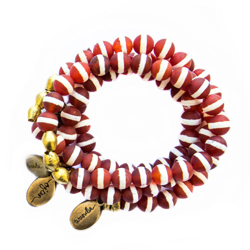 Beaded Bracelet  - Striped Matte Carnelian Agate