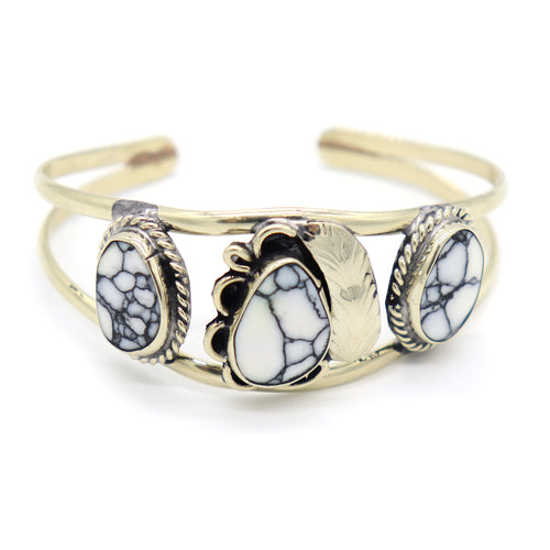Mexican Gemstone Cuff — White Buffalo Turquoise