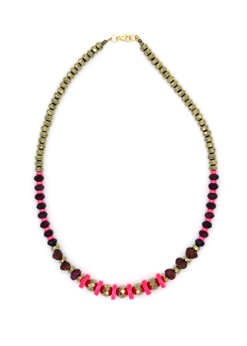 NEW! Limited — Pyrite and Garnet Necklace