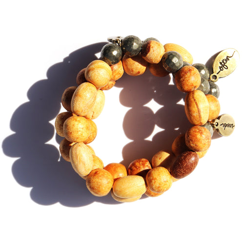Palo Santo — Large Beads w/ Pyrite — Beaded Bracelet