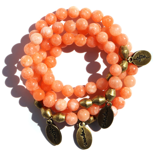 Peach Jade — Beaded Bracelet