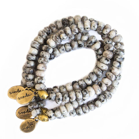 Beaded Bracelet  - Calico Black and White Agate