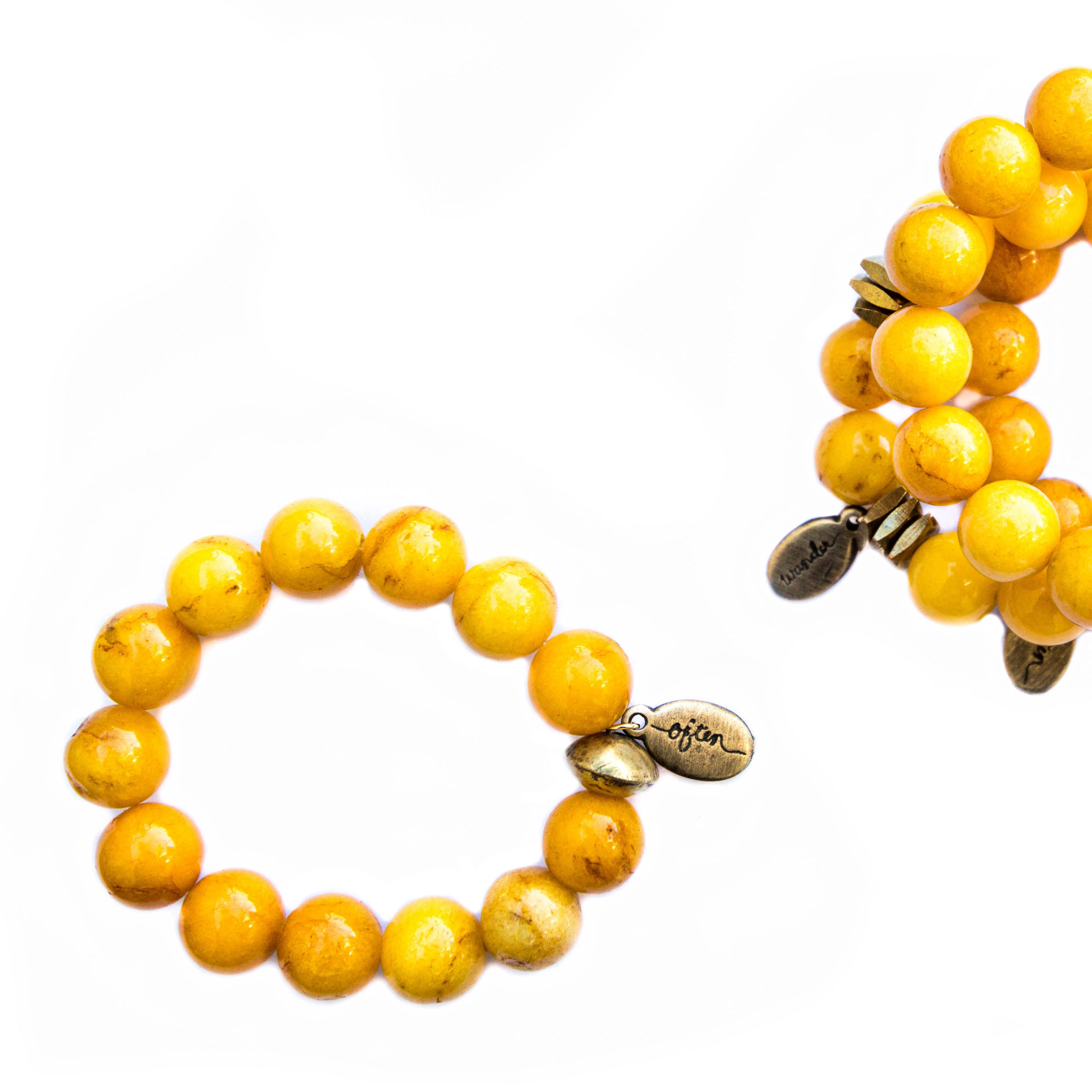 Beaded Bracelet — Jumbo Sunshine Jade