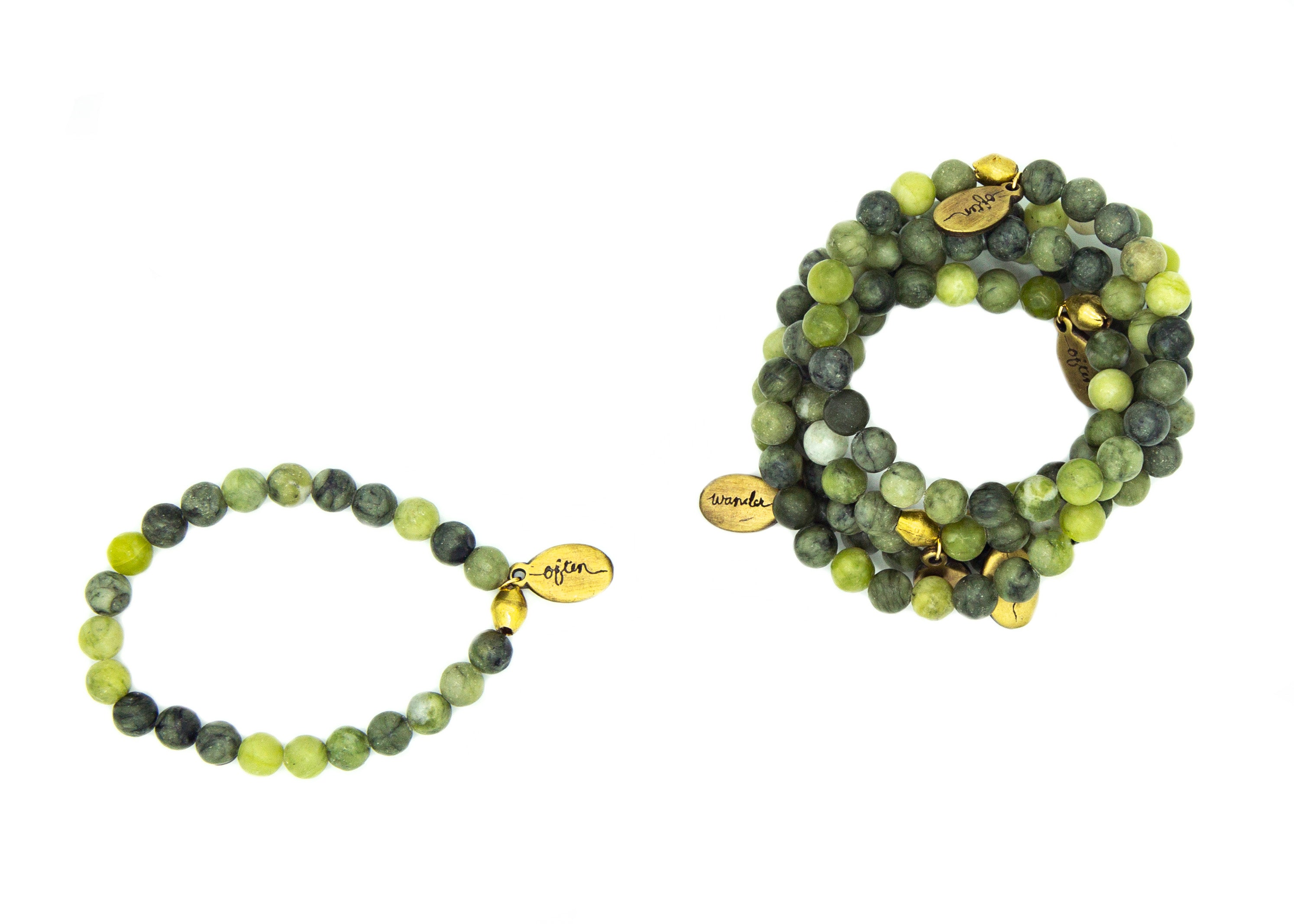 Dark Mossy Green Jasper — Beaded Bracelet