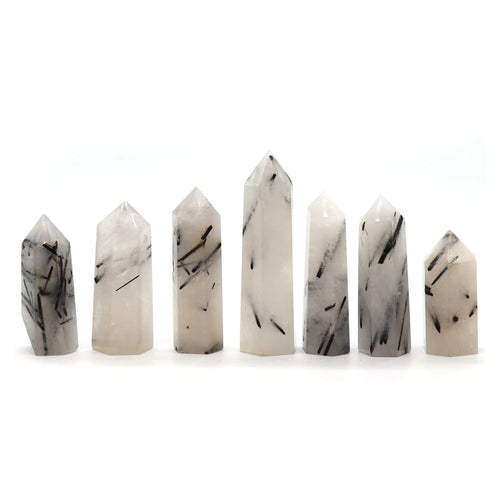 Tourmalated Quartz Points — Crystal