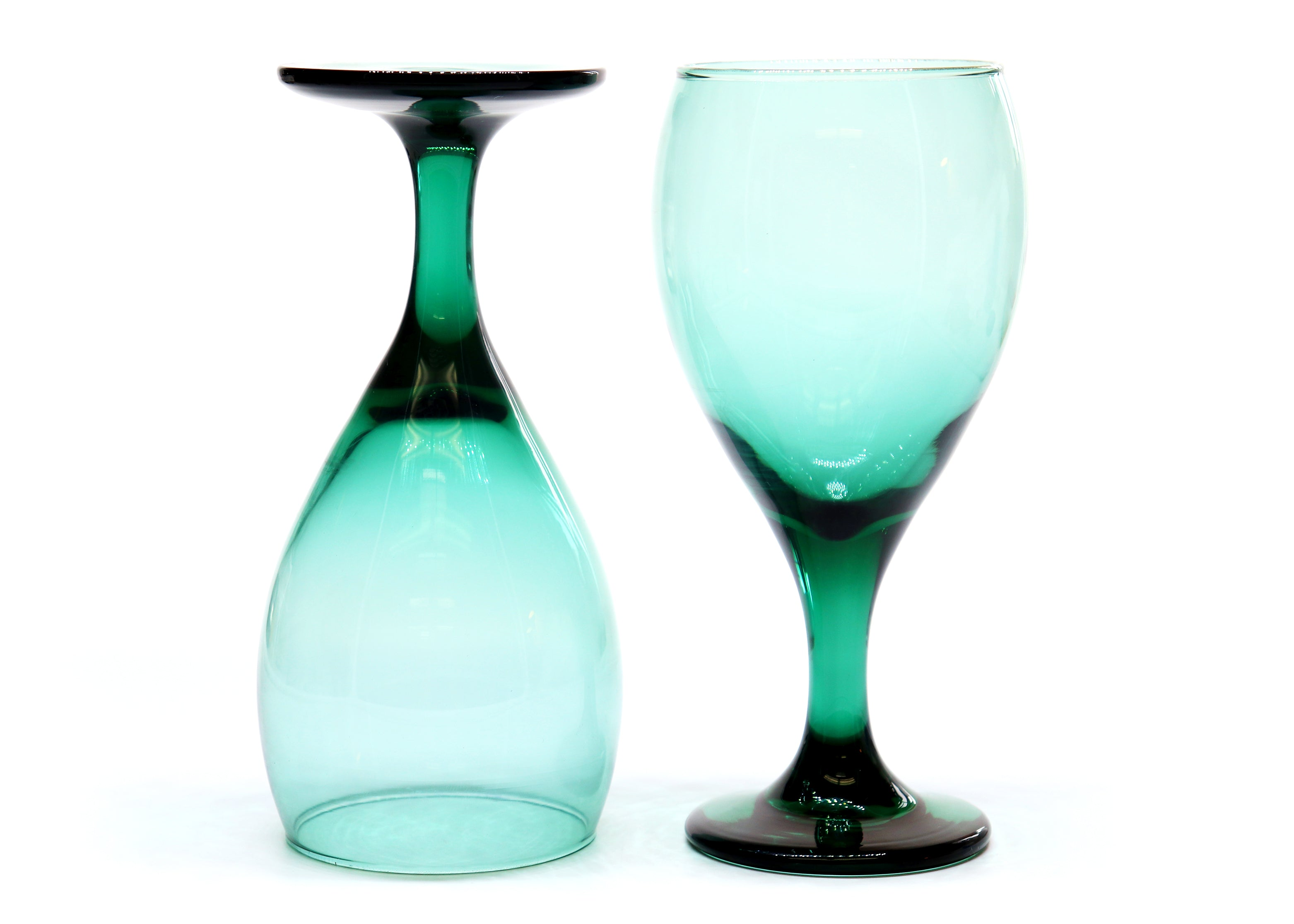 Turquoise Stemmed Goblets — Vintage Glass — Set of 2