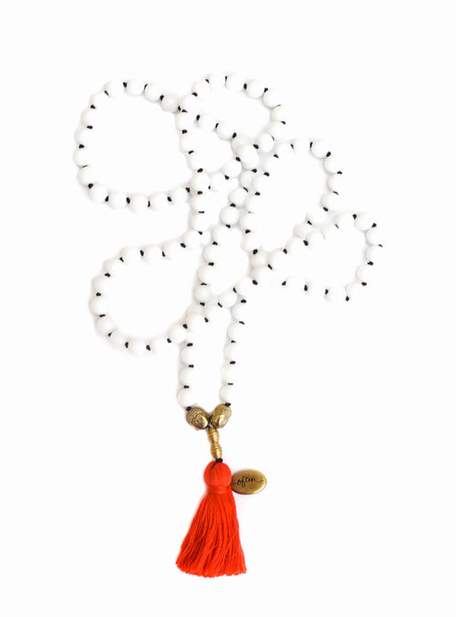 White Onyx — Choose Your Tassel Color! — Mala Necklace