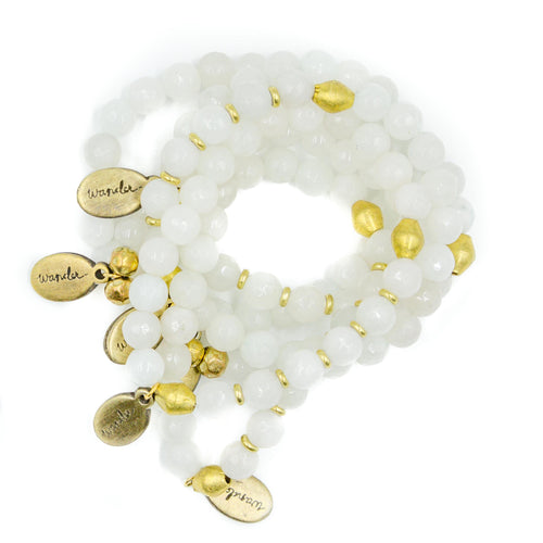Beaded Bracelet - White Jade