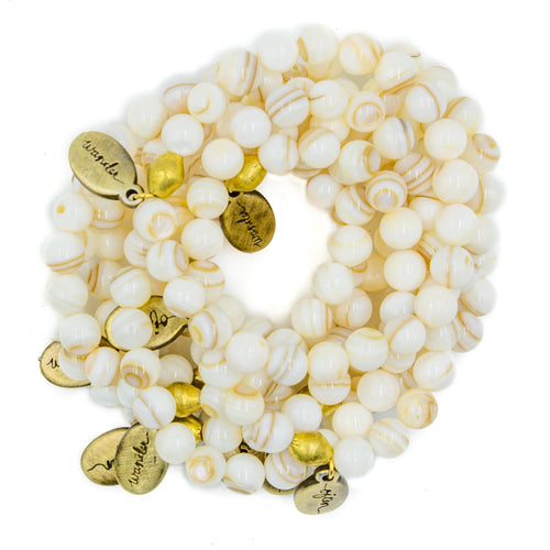 Beaded Bracelet  - White Shell