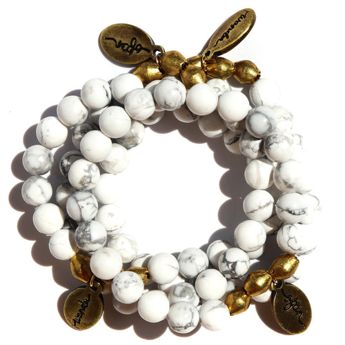 White Howlite — Beaded Bracelet