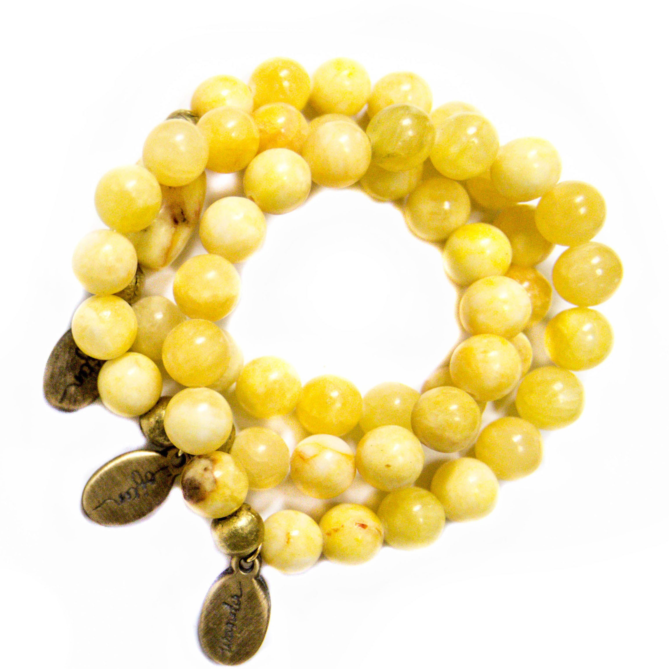 Large Yellow Jade — Beaded Bracelet