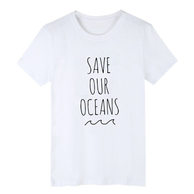 "Minimalist ""Save Our Oceans"" T-Shirt In White OR Black - Wildlife Alive"