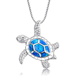 Handmade Blue Opal Sea Turtle Silver Necklace - Wildlife Alive