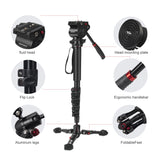 "Camera Monopod 65""Professional Video Monopod with Tripod Base and 360 Degree Panoramic Fluid Head"