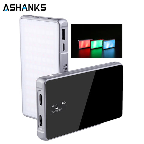 RGB LED Video Light, ASHANKS 18W Camera Video Panel Light with 5000mAh Rechargeable Battery, 360° Full Color Aluminium Alloy Studio Lamp for Studio YouTube Vlog Photography, CRI≥96 2500-8500K Dimmable