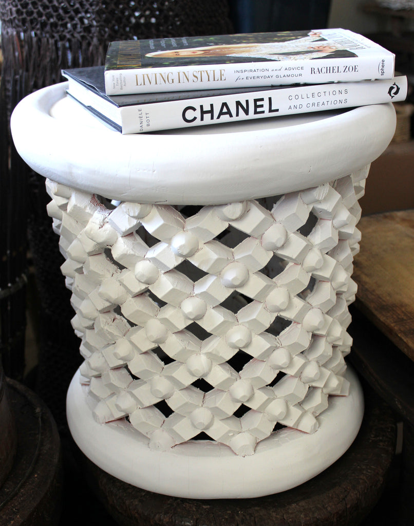 Bamileke 40cm Dia Matt White Side Table