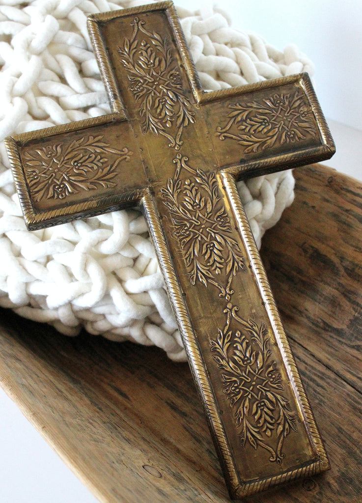 Brass imprinted cross