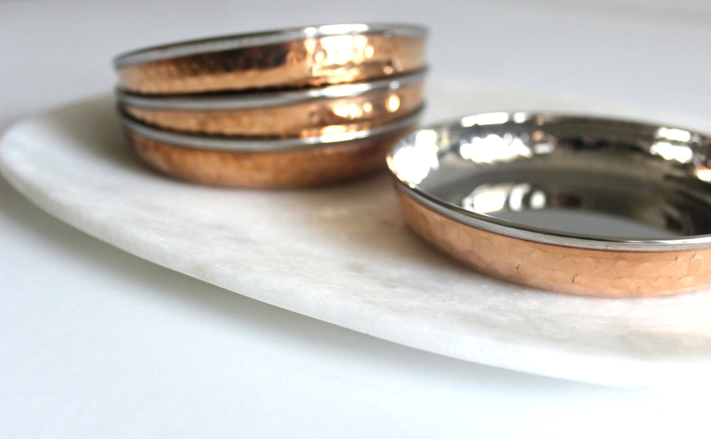 Copper and Stainless Flat condiment bowls