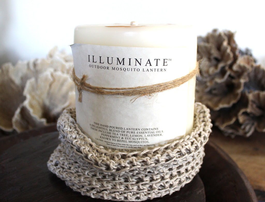 ILLUMINATE Outdoor Mosquito Lantern Candle in crocheted hemp base