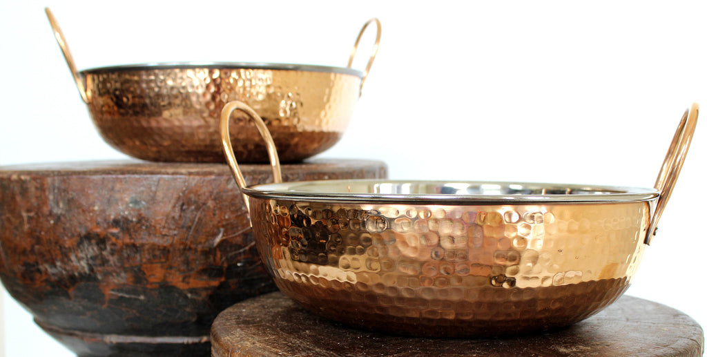 Large copper and stainless bowl