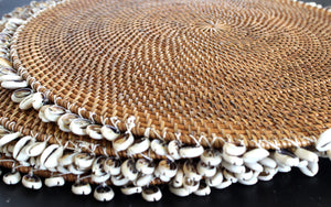 Natural rattan round platter with hand stringed shells