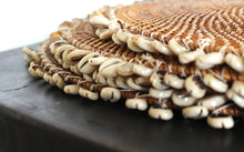 Load image into Gallery viewer, Natural rattan round platter with hand stringed shells
