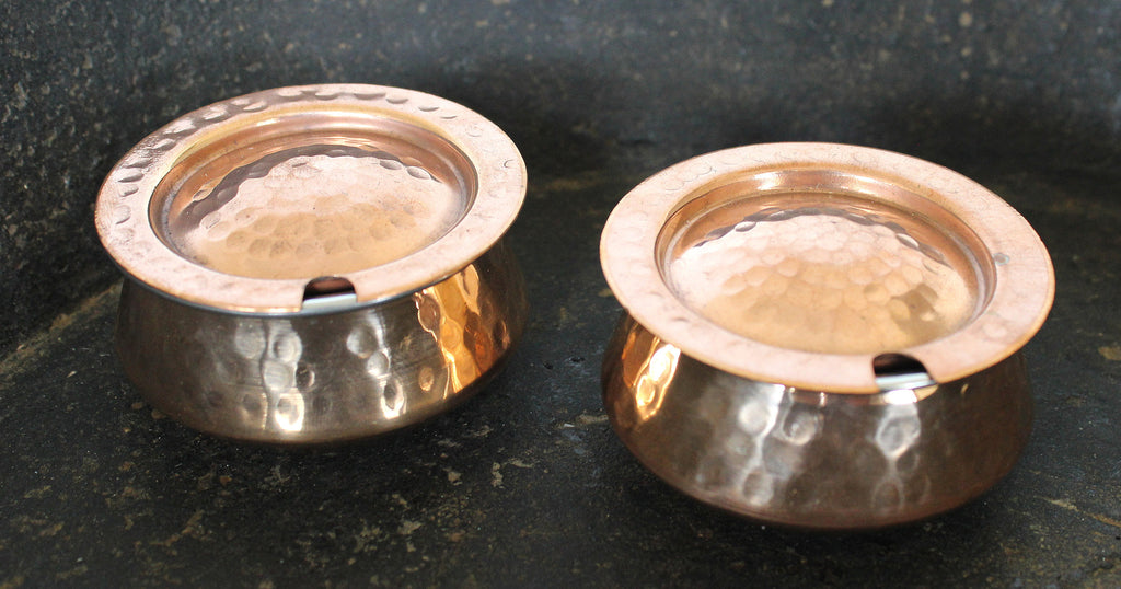 Hammered copper & stainless condiment pot with lid