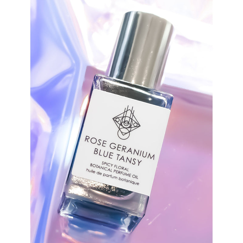 ROSE GERANIUM + BLUE TANSY Spicy Floral Botanical Perfume - BUCA Botanicals