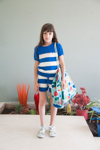Bobo Choses summer 2016 knitted tee and knitted shorts blue