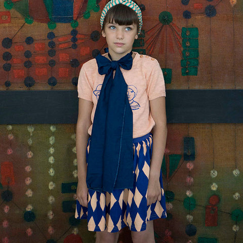 Bobo Choses summer 2016 knitted tee and jersey skirt diamonds