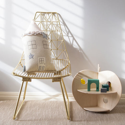 Gold copper wire kids furniture.