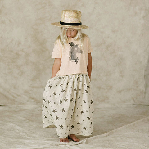 Cool kids clothes by Rylee and Cru, maxi skirt and horse tee